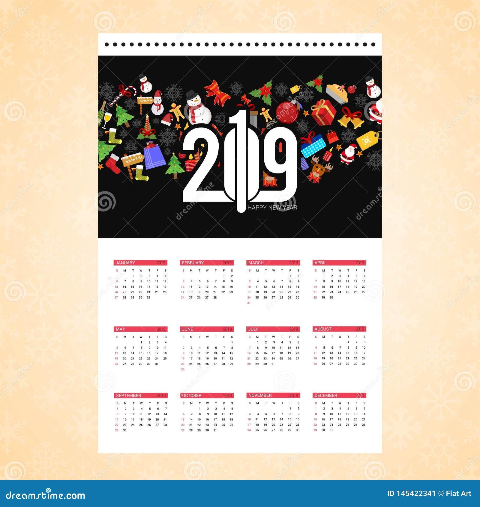 Christmas calendar design card with creative background vector