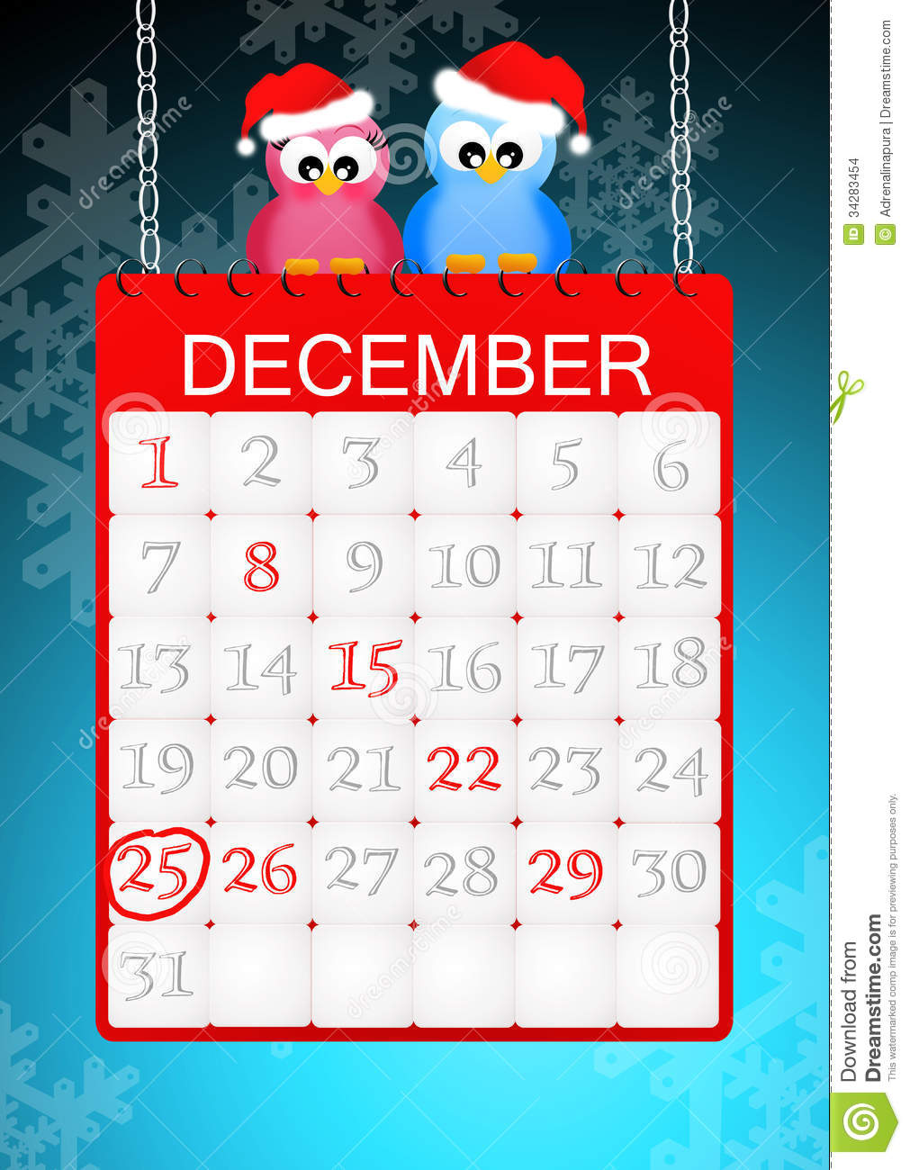 Christmas Calendar Illustration : Christmas calendar page stock images image