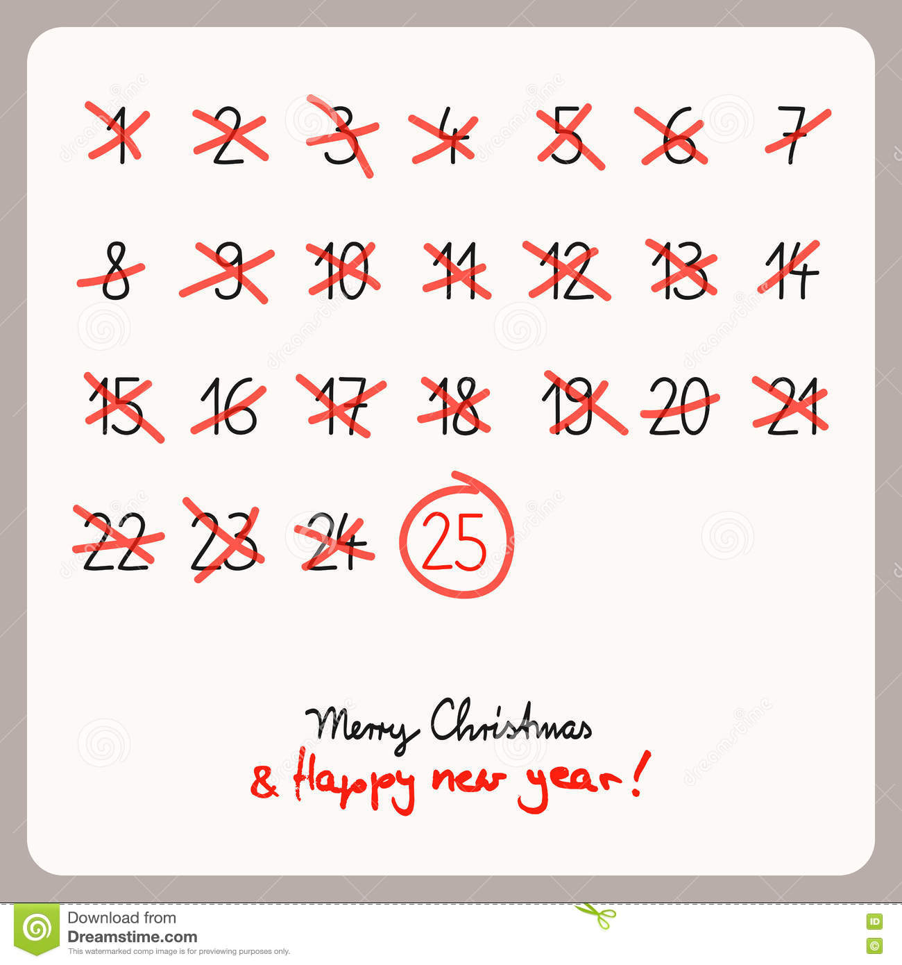 Christmas Calendar Illustration : Christmas calendar template for design stock