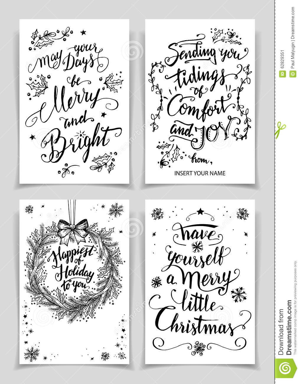 Christmas calligraphy greeting cards set stock vector