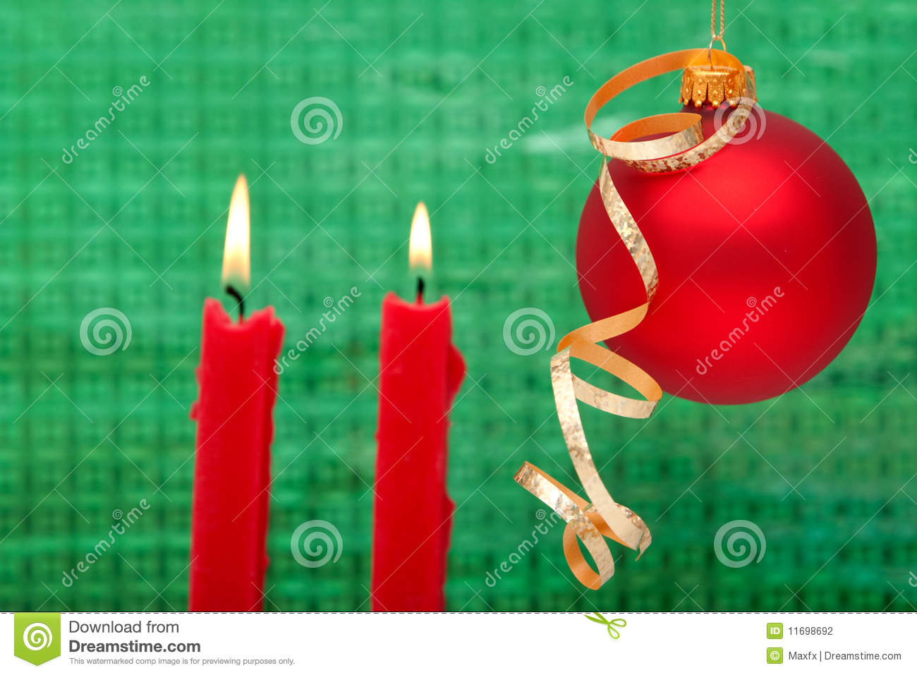 Christmas candle and ornament stock photography image for Christmas candles and ornaments