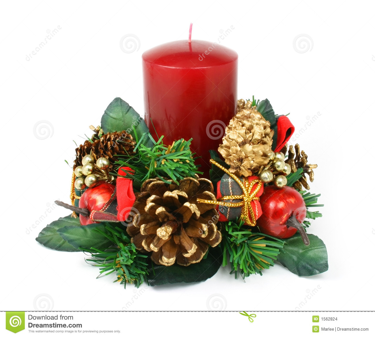 christmas candle ornament on white background stock photo