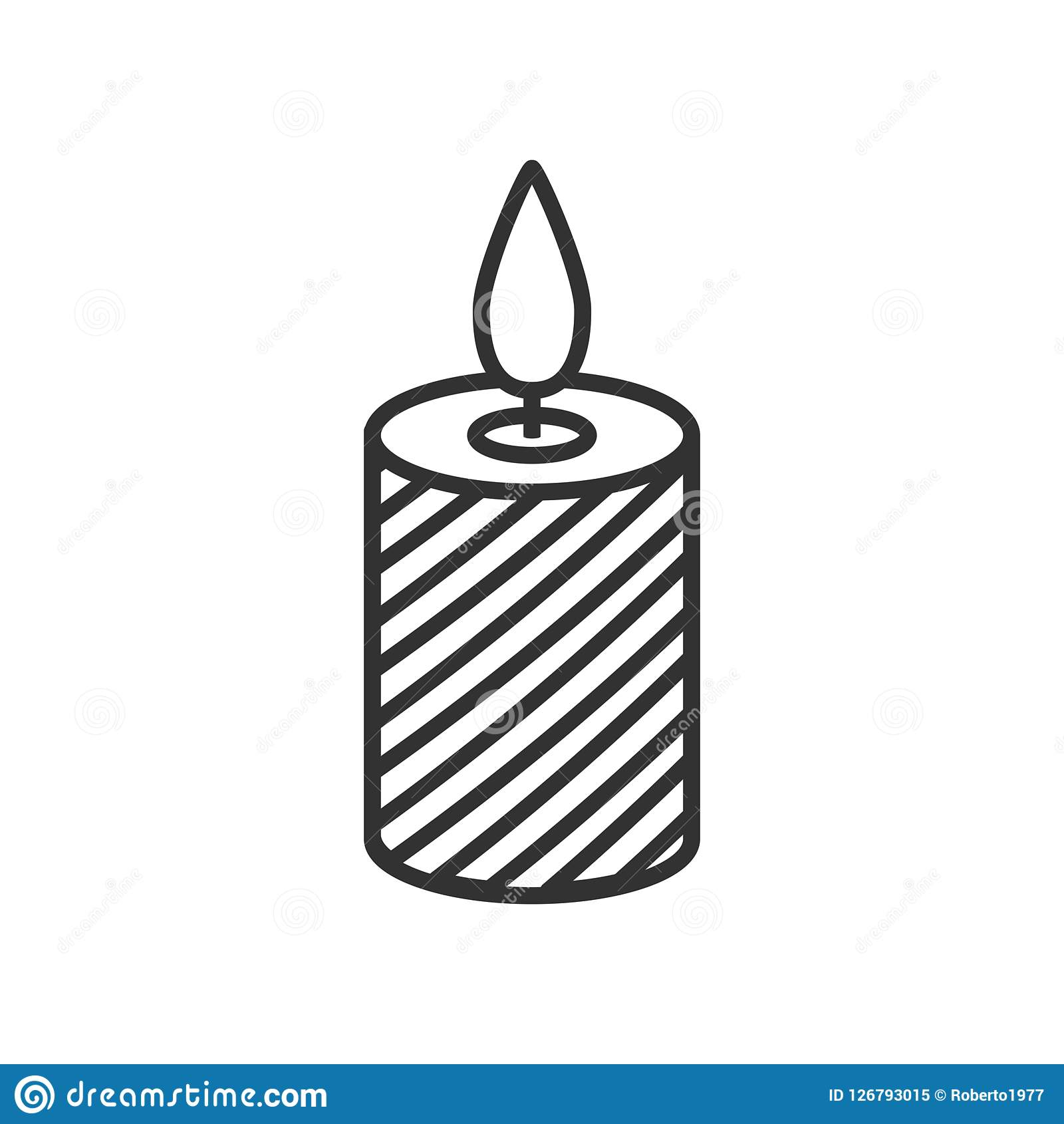 Christmas Candle Outline Flat Icon on White. Christmas candle outline flat icon, isolated on white background. Eps file available Stock Illustration