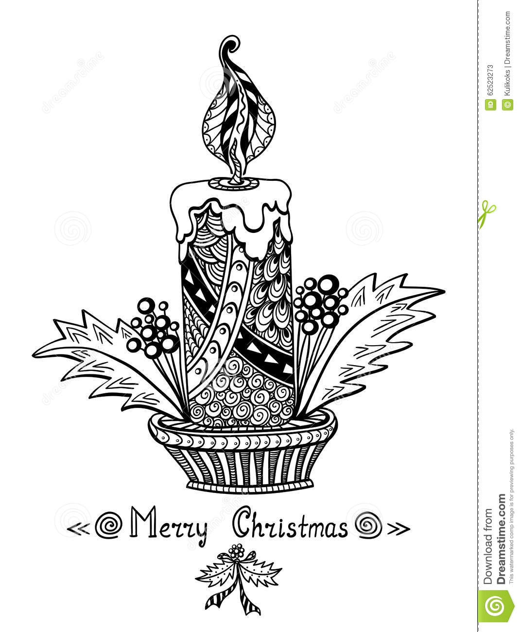 Christmas Candle In Zen Doodle Style Black On White Stock