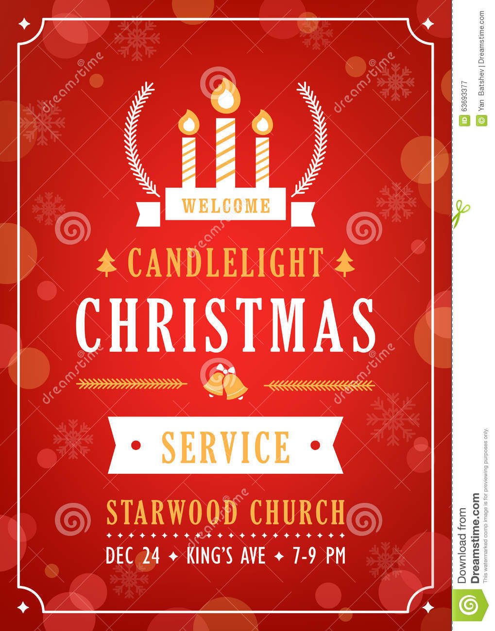 Christmas candlelight service church invitation stock vector download christmas candlelight service church invitation stock vector illustration of noel invitation stopboris Image collections