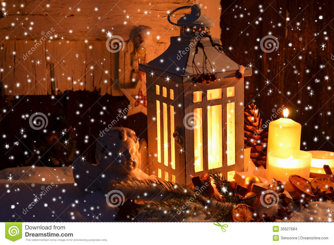 Christmas Candlelight Snow Stock Images - Image: 35627684