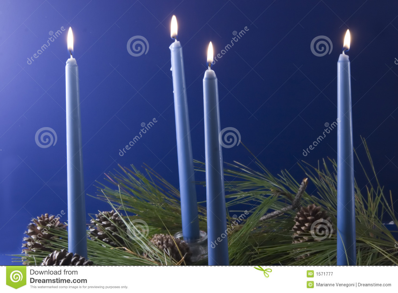 Christmas Candles Advent Blue Stock Image Image Of
