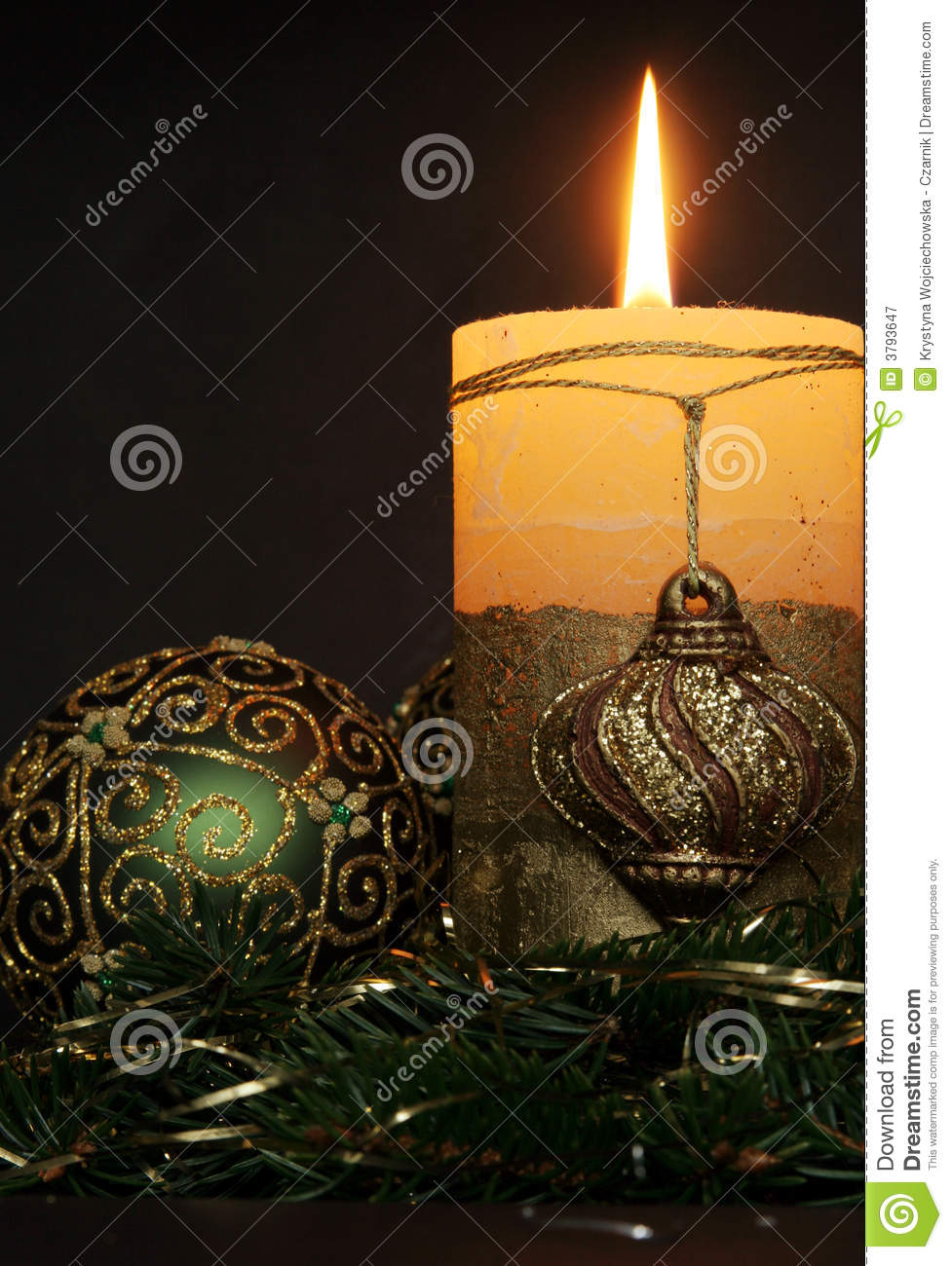 Christmas candles and balls ornaments royalty free stock for Christmas candles and ornaments