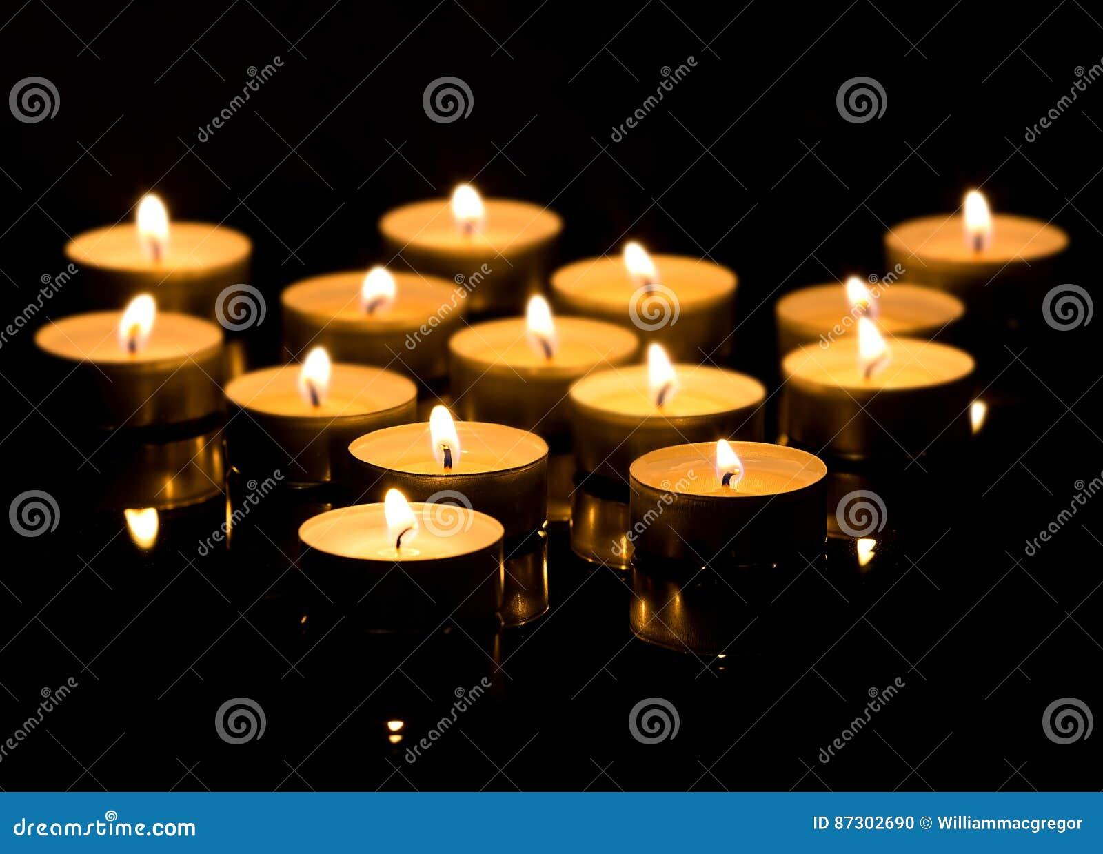 Christmas candles burning.