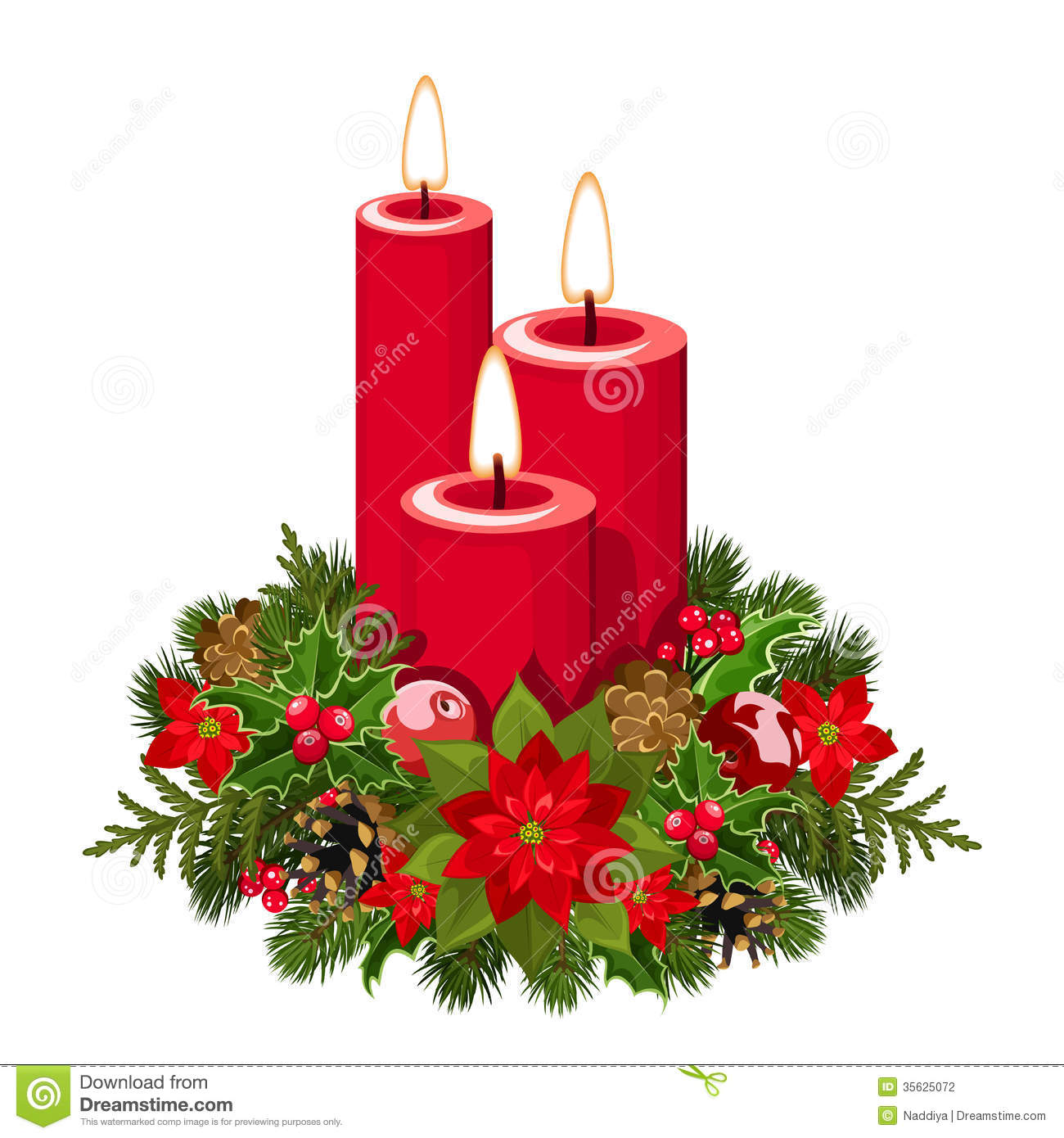 Christmas Candles Stock Vector Illustration Of
