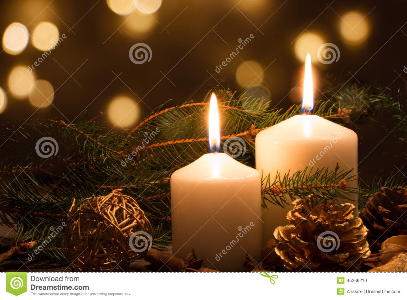 Christmas candles and lights stock photo image 45266210 for Christmas candles and ornaments