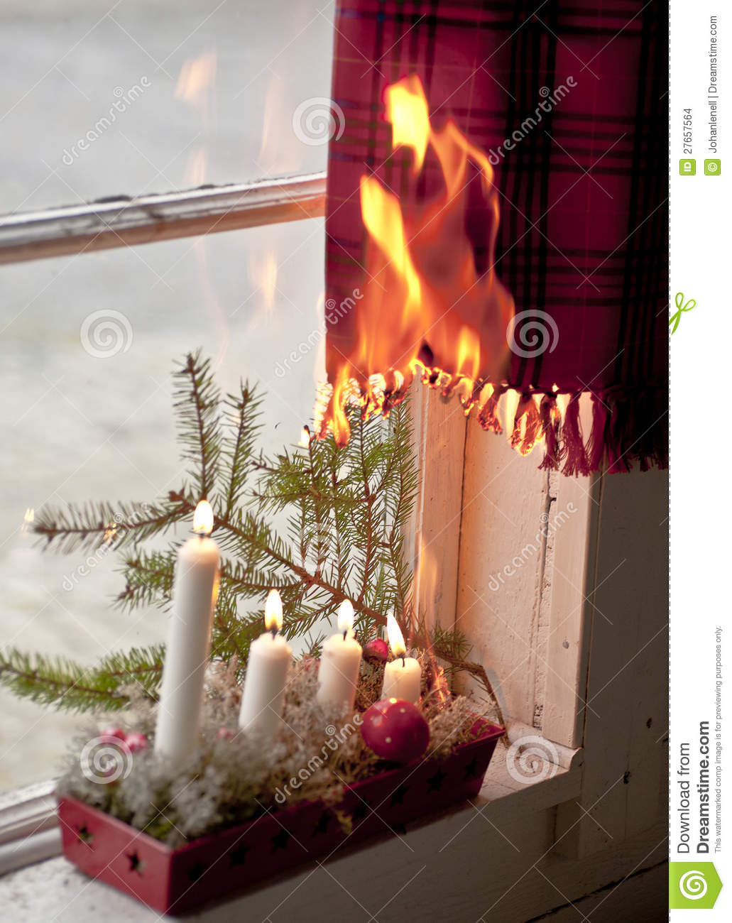 More similar stock images of ` Christmas candles starting a fire `