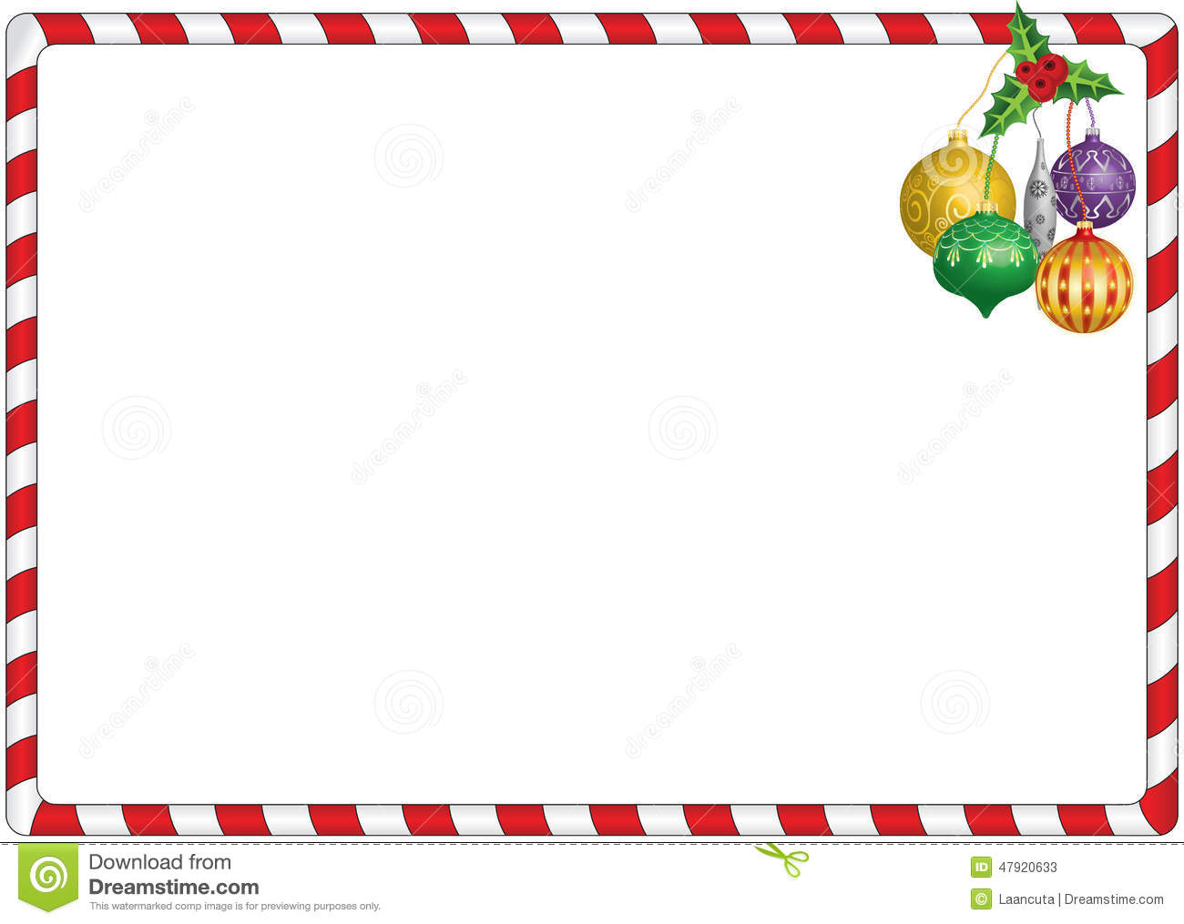 Simple christmas red and white candy border with hanging decorations.