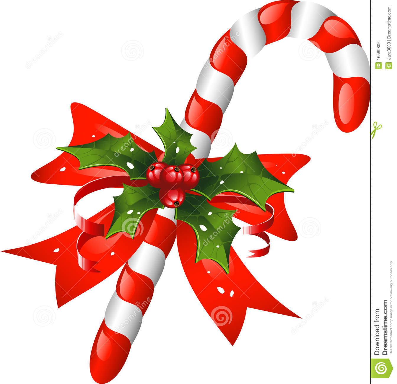 christmas candy cane decorated with a bow and holl - Christmas Candy Cane