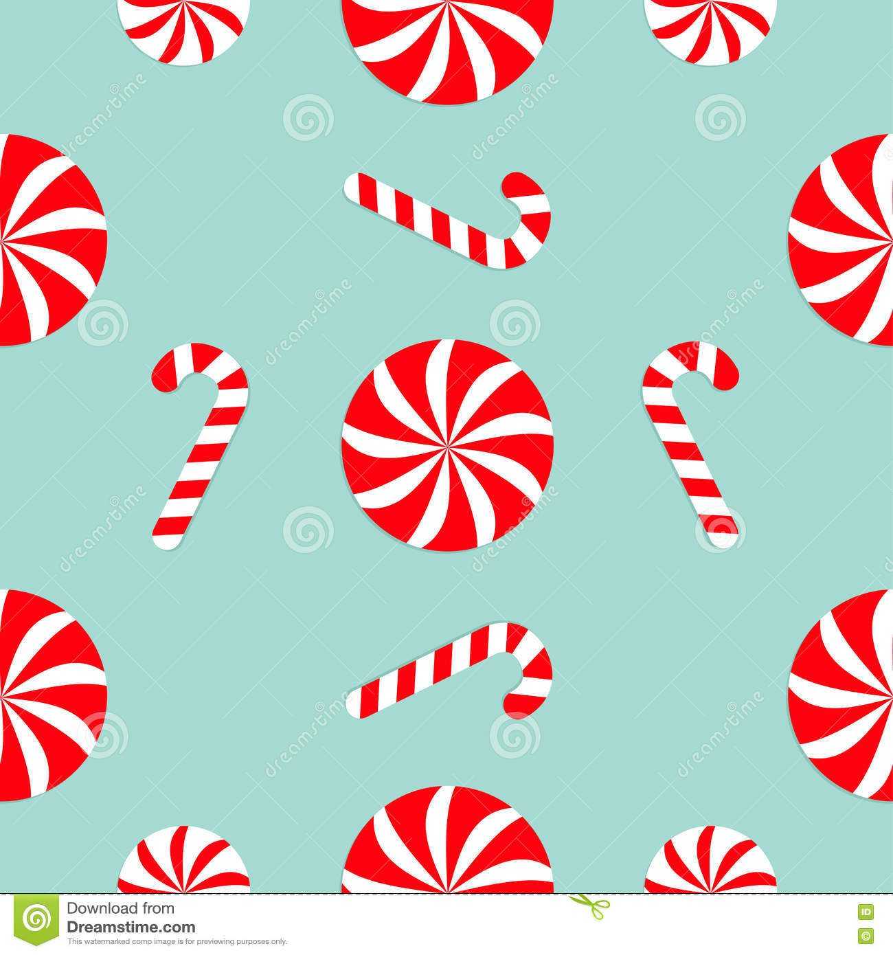 Christmas Candy Cane Round White And Red Sweet Set. Seamless Pattern  Decoration. Wrapping Paper, Textile Template. Blue Background