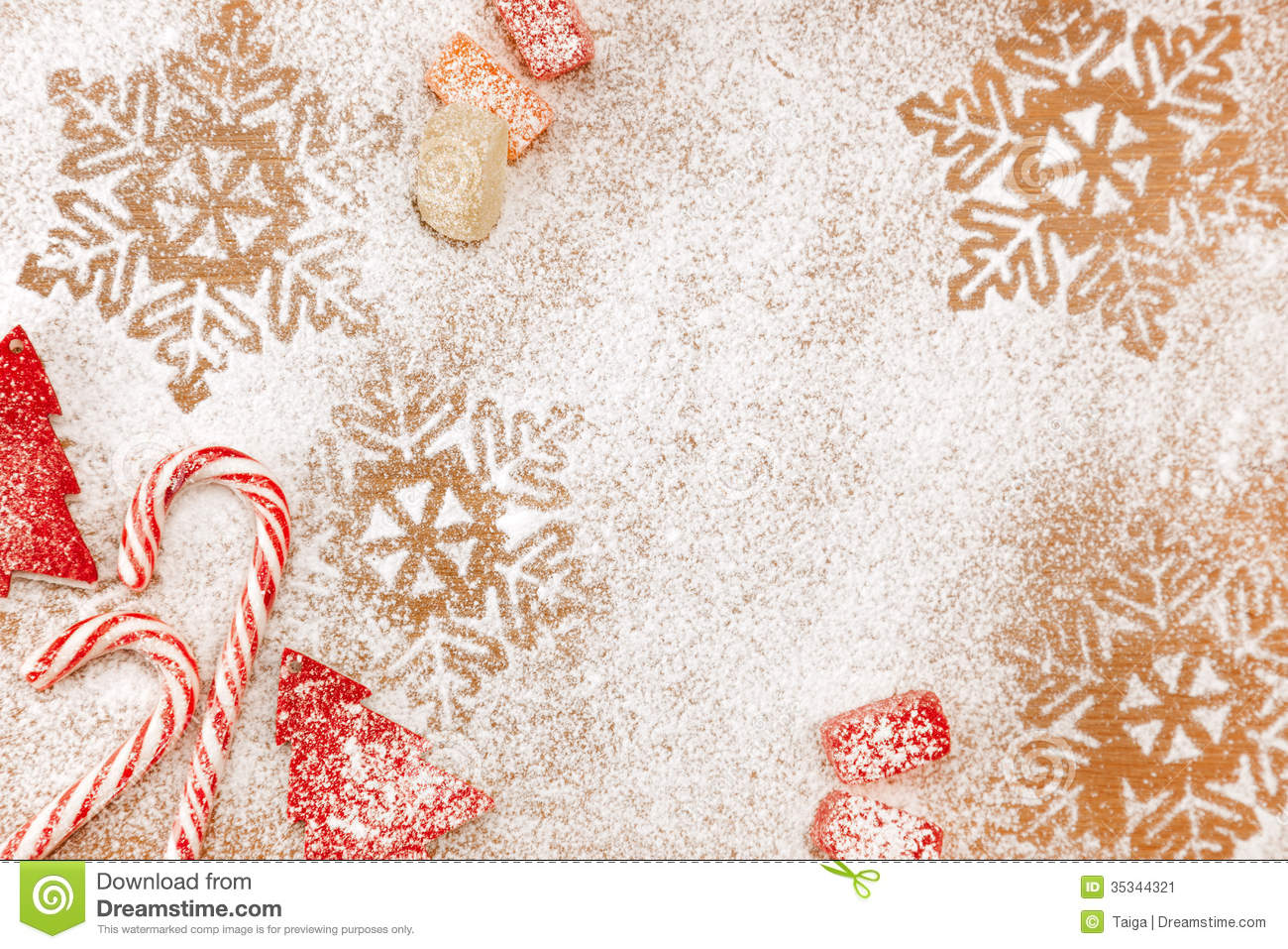 Christmas Candy And Sweet Background With Snowflakes And Trees ...