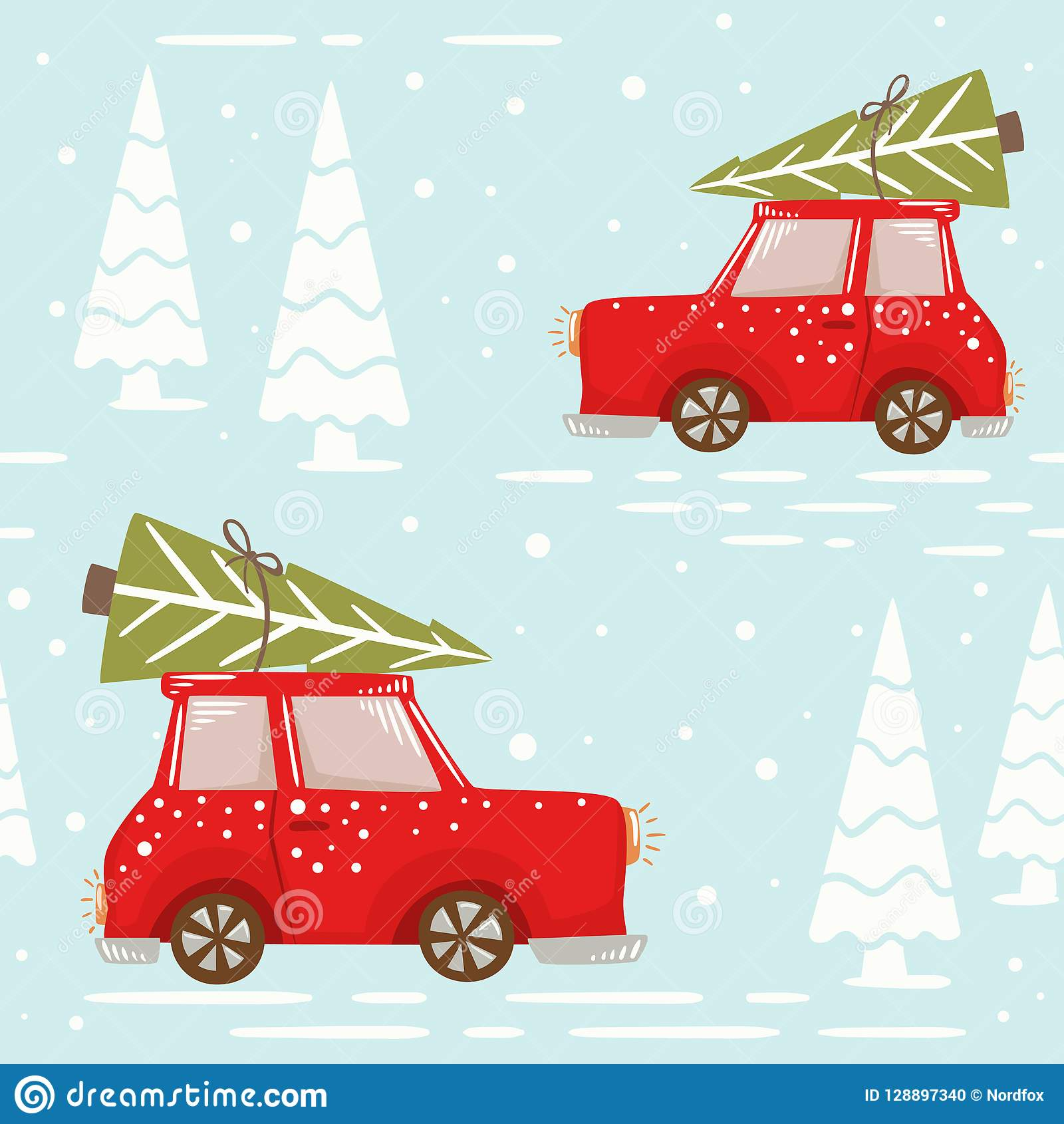 Christmas Car With Fir Tree Seamless Pattern New Year Delivery