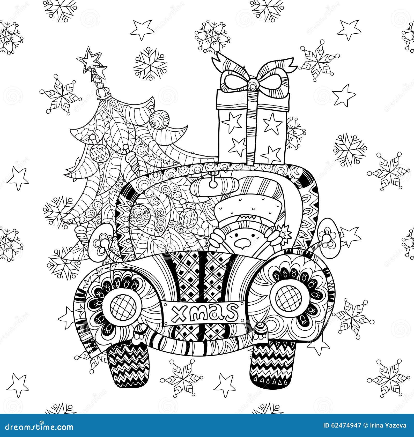 Christmas Car Gift Doodle Zentangle Vector. Stock Vector ...