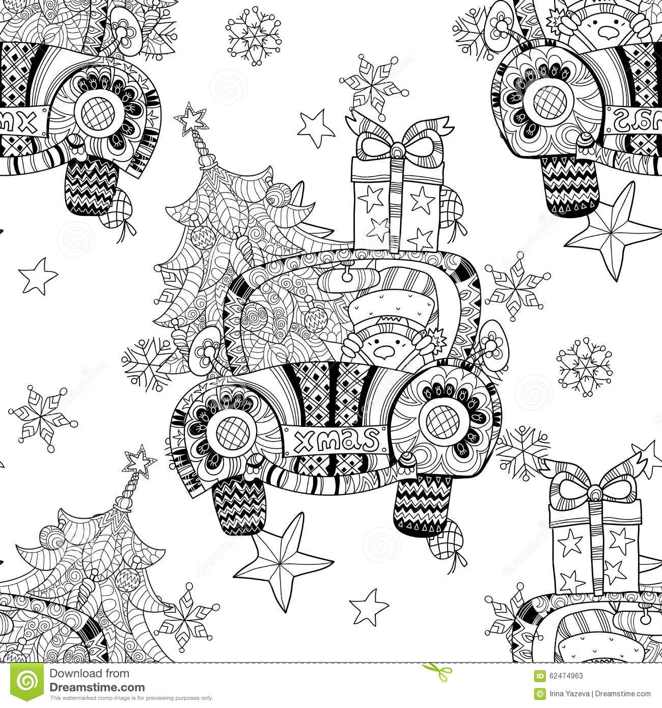christmas car gift doodle zentangle vector  stock vector