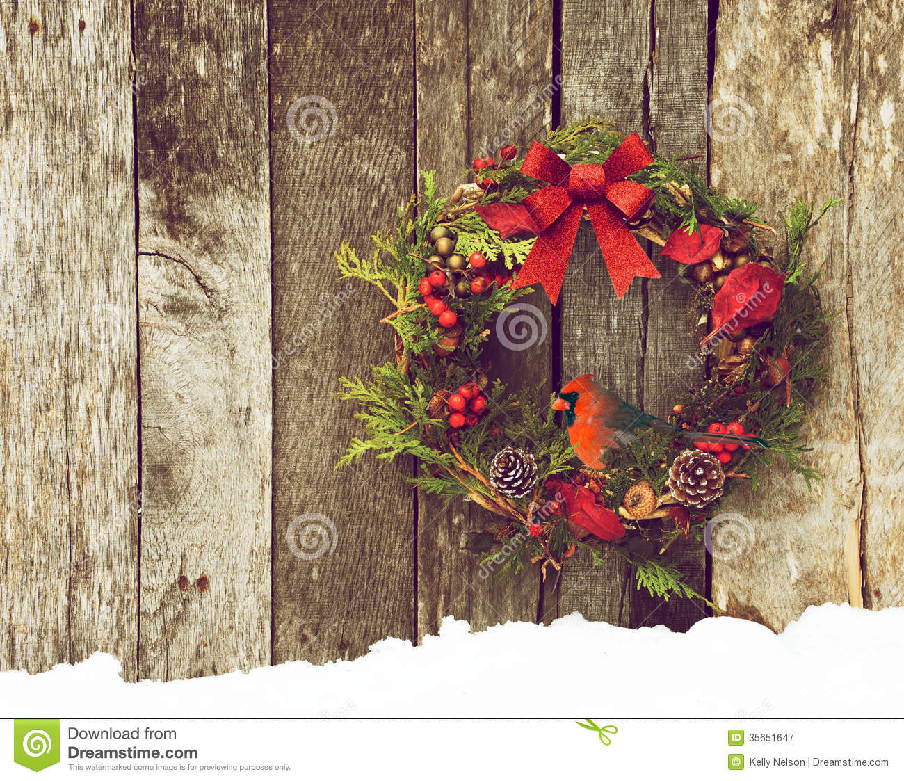 Christmas Wreath With Natural Decorations A Beautiful Male Northern Cardinal Peeking Out Hanging On Rustic Wooden Wall Copy Space