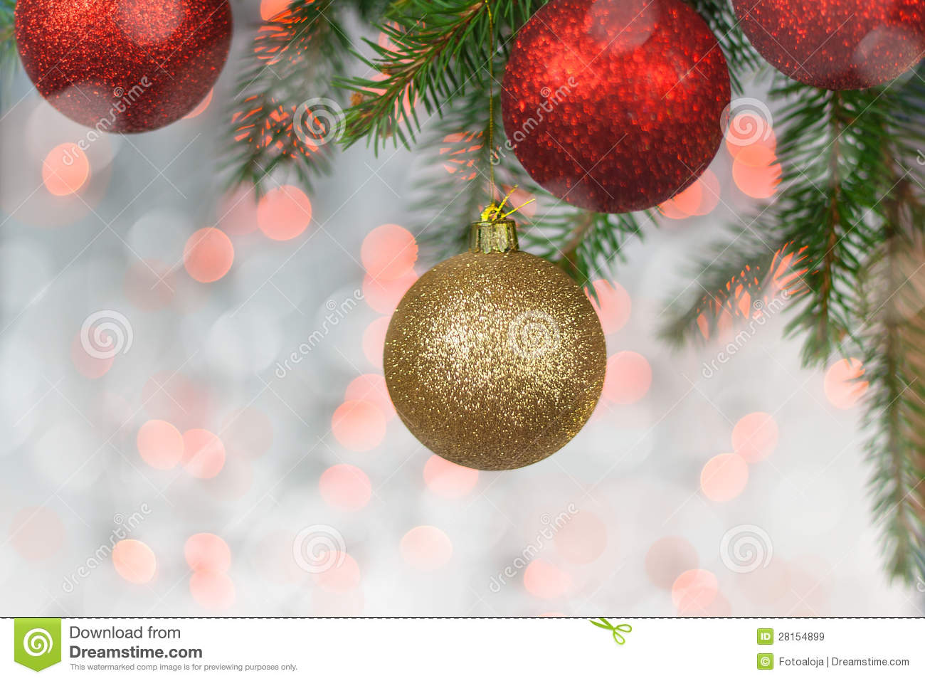 Christmas card with balls and spruce twig