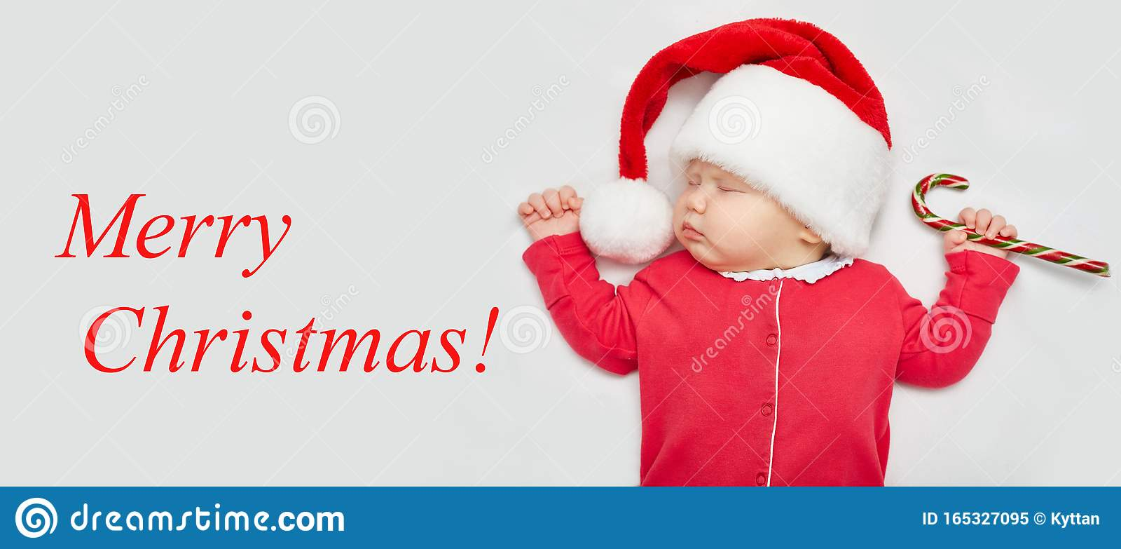 Christmas Card Or Banner With A Newborn Sleeping Baby In A Santa Claus Hat Stock Image Image Of Innocent Human 165327095