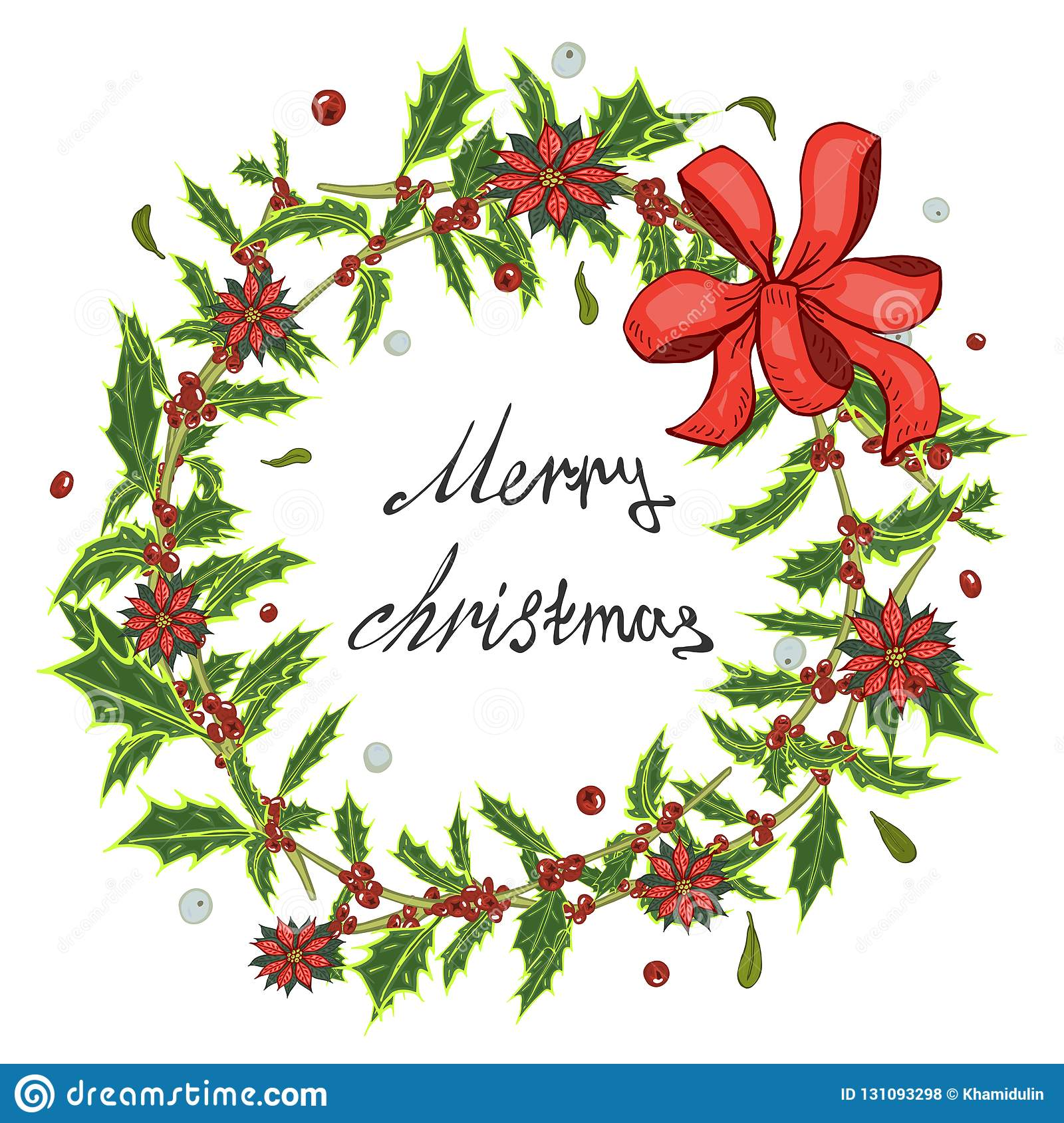 Christmas card, a banner with a wreath of red flowers poinsettia, holly leaves.
