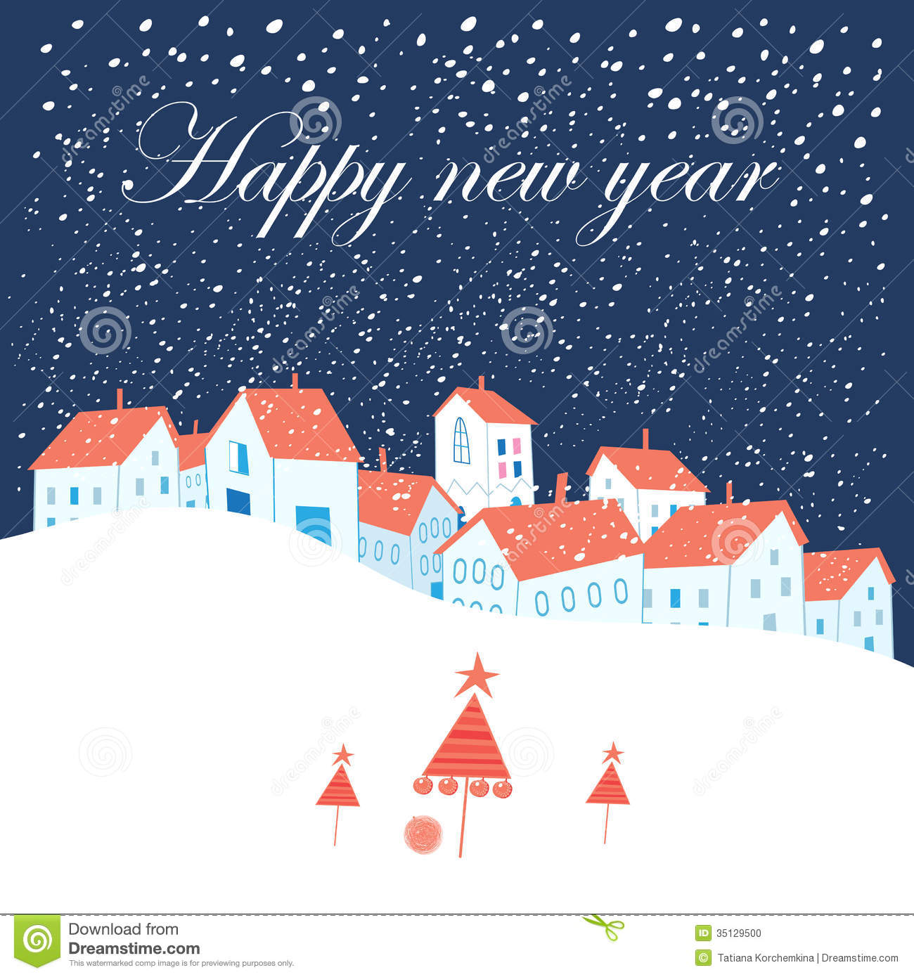 Christmas Card Stock Vector. Illustration Of Snow, Message