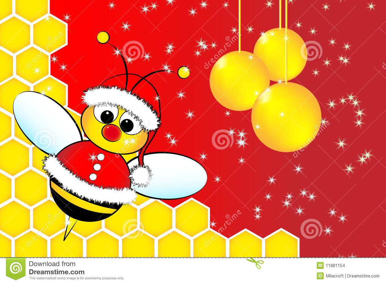 Christmas Card With A Bee Santa Claus And Beehive Stock Images ...