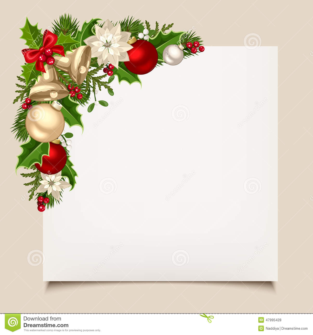 christmas card with bells  holly  balls and poinsettia