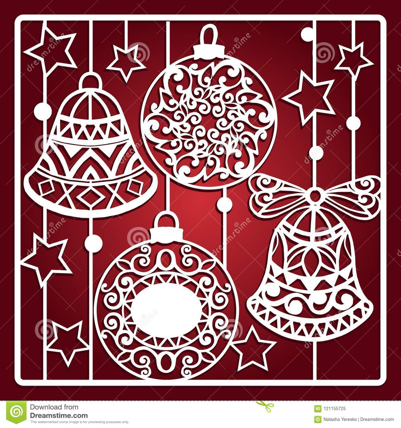 download christmas card with bells for laser cutting laser cutting template christmas gift for - Laser Cut Christmas Cards