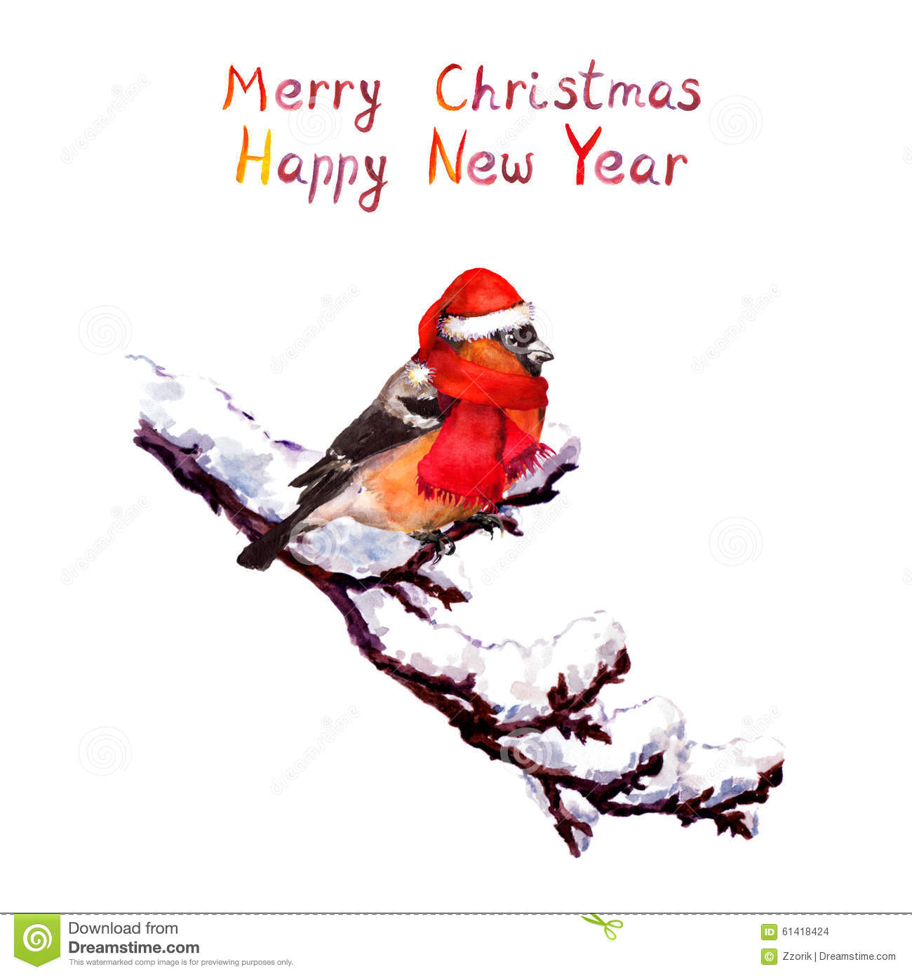 Christmas Card - Bird In Red Hat At Branch With Snow. Watercolor ...
