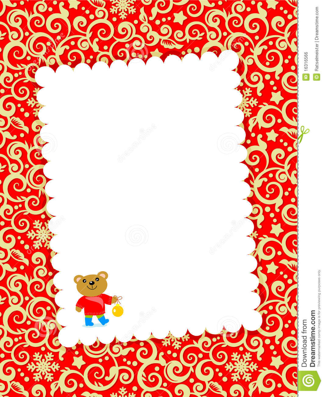 christmas or new year greeting card or invitation template with blank letter little cute bear decorative red and gold swirly background