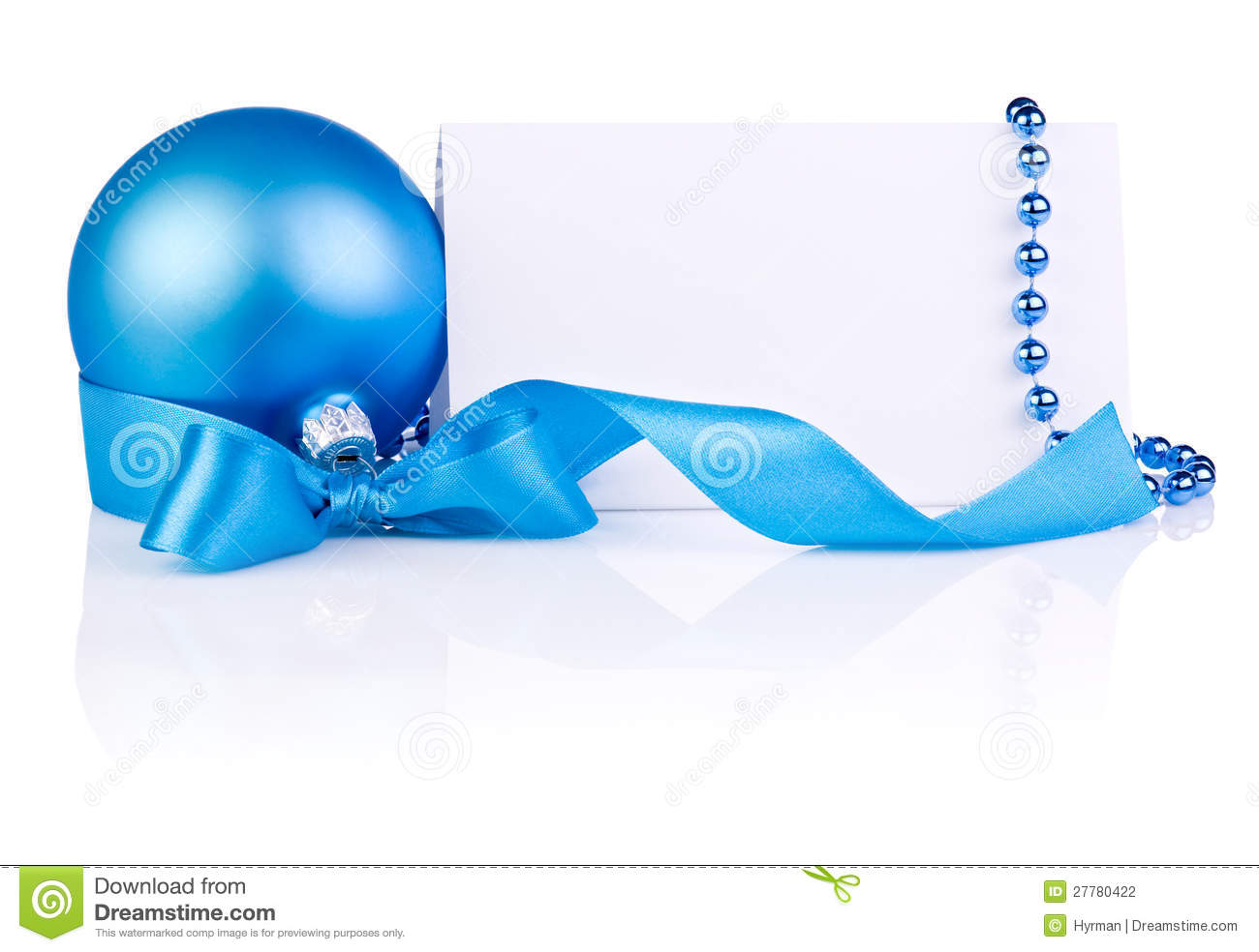 Christmas tree decoration blue and silver - Christmas Card With Blue Ball Ribbon Bow Beads Stock