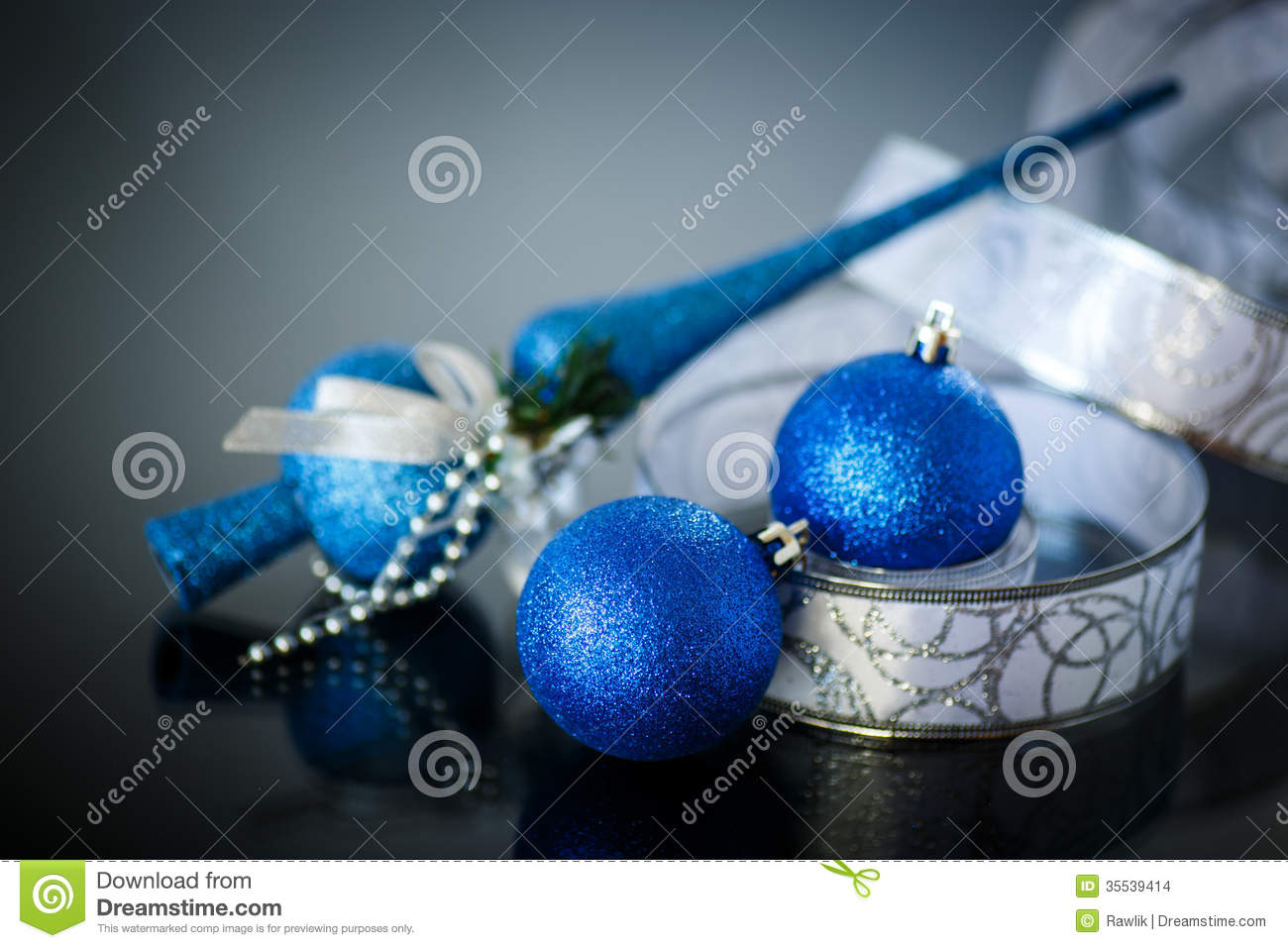 Christmas Card With Blue Balls And Ribbon