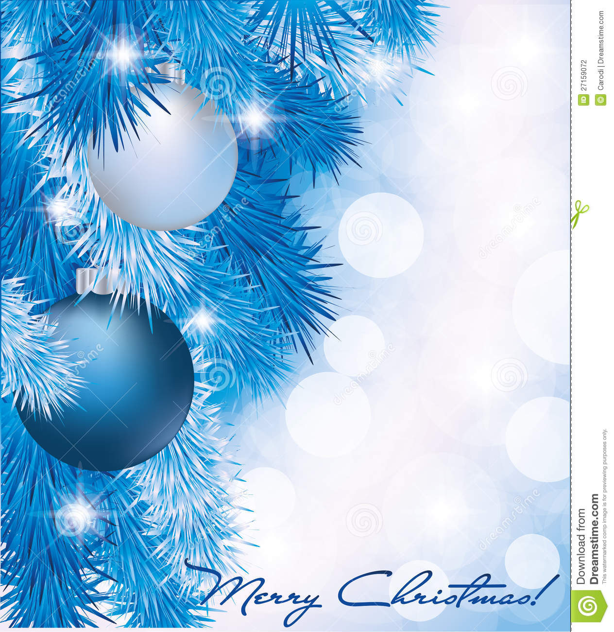 Christmas Card With Blue Silver Balls Stock Photography ...
