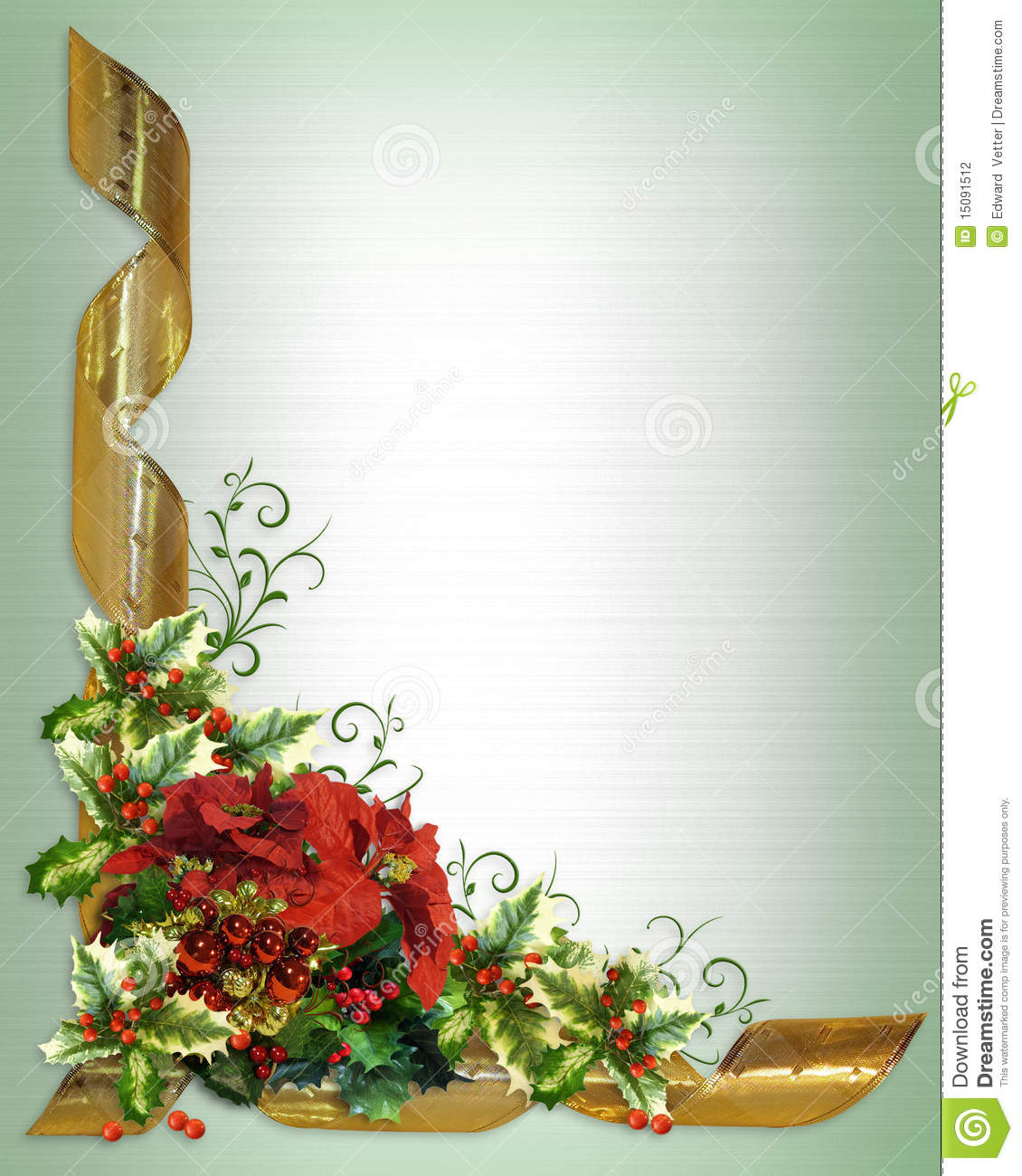 Christmas Card Border Holly Floral Stock Photography - Image: 15091512