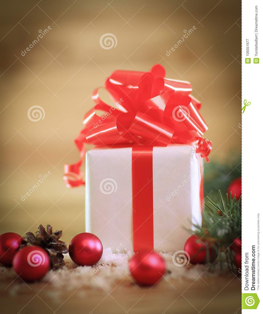 Christmas Card. Box With Gift On Christmas Background Stock Image ...