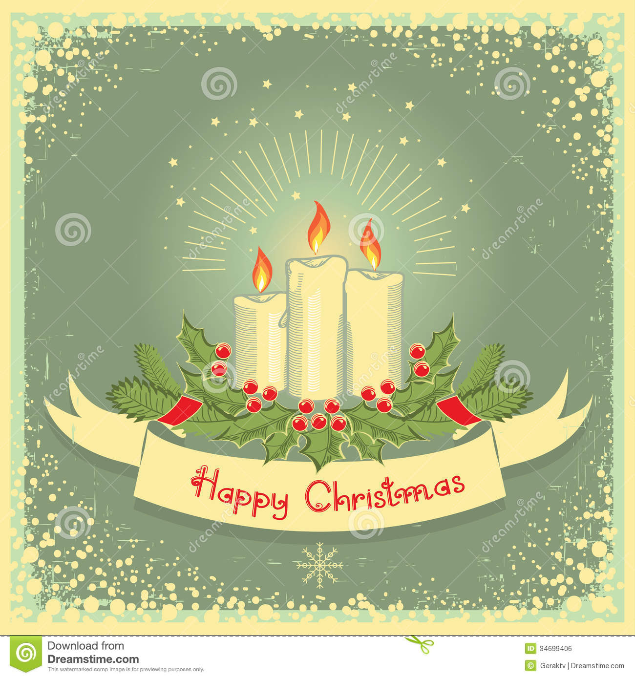 Christmas Card With Candles Royalty Free Stock Image - Image: 34699406