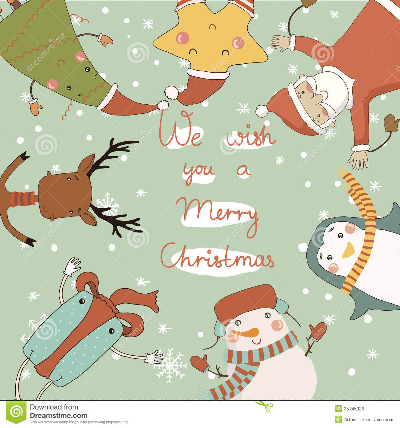 E Card Cartoon Characters : Christmas card with cartoon characters royalty free stock