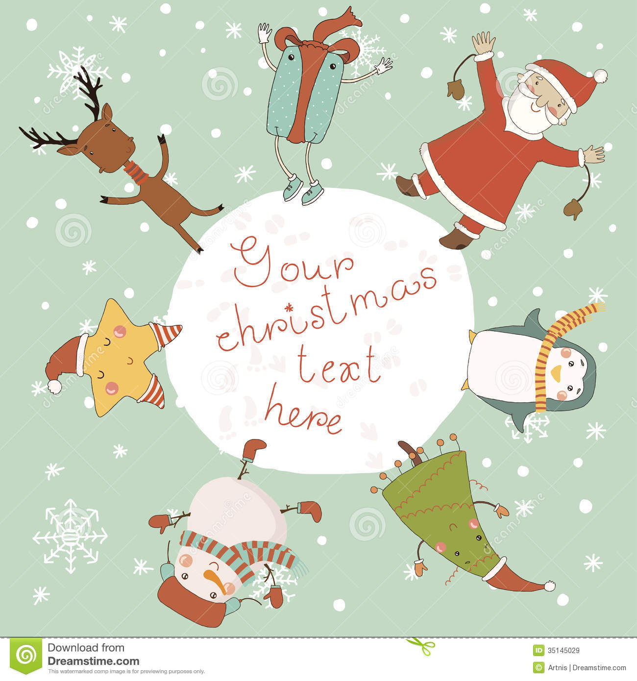 christmas card with cartoon characters merry christmas and happy new year