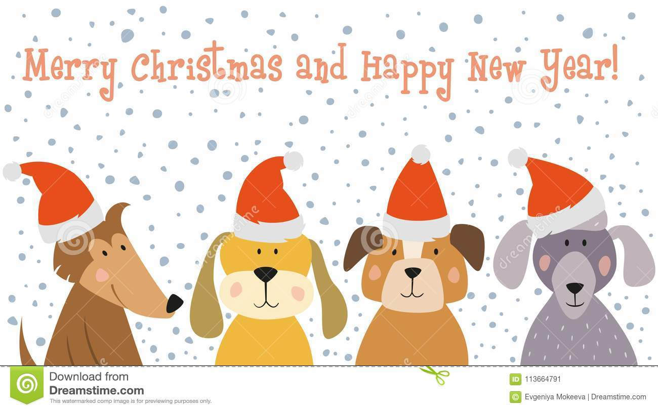 Christmas Card With Cartoon Dogs. Stock Vector - Illustration of