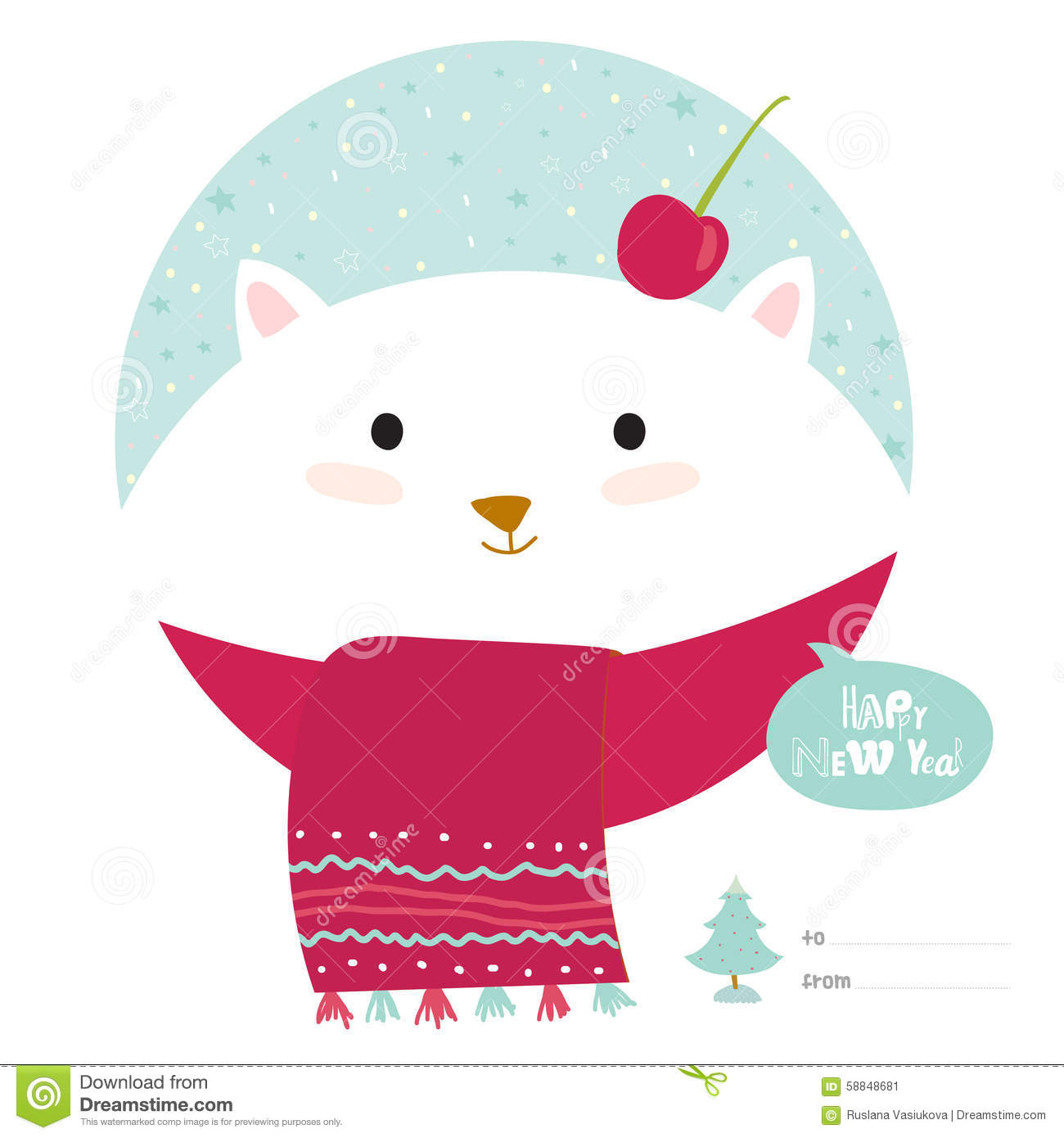Christmas Card With Cartoon And Funny Animals Stock Vector ...
