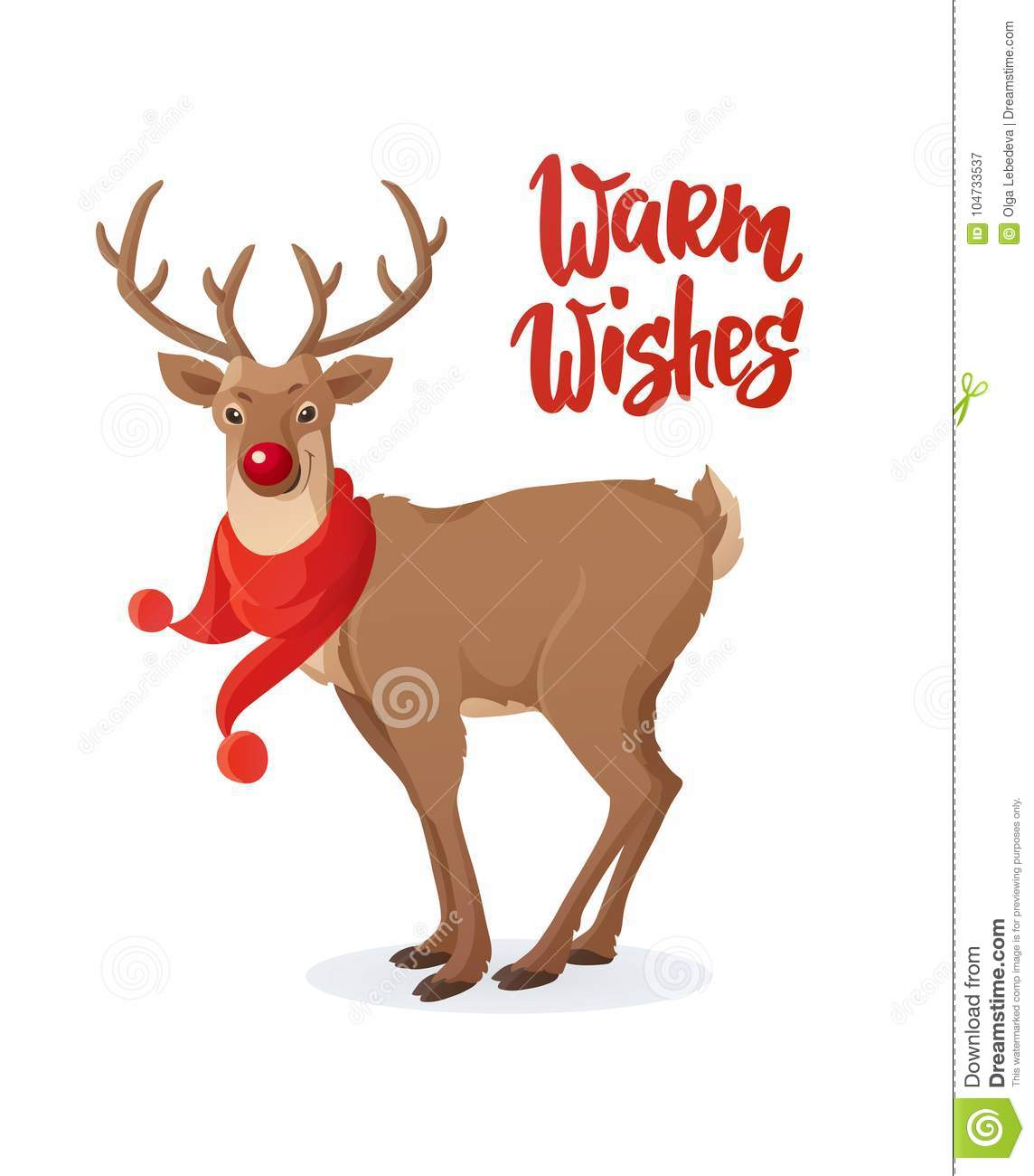 Christmas card cartoon rudolph red nose reindeer with scarf warm download christmas card cartoon rudolph red nose reindeer with scarf warm wishes text m4hsunfo
