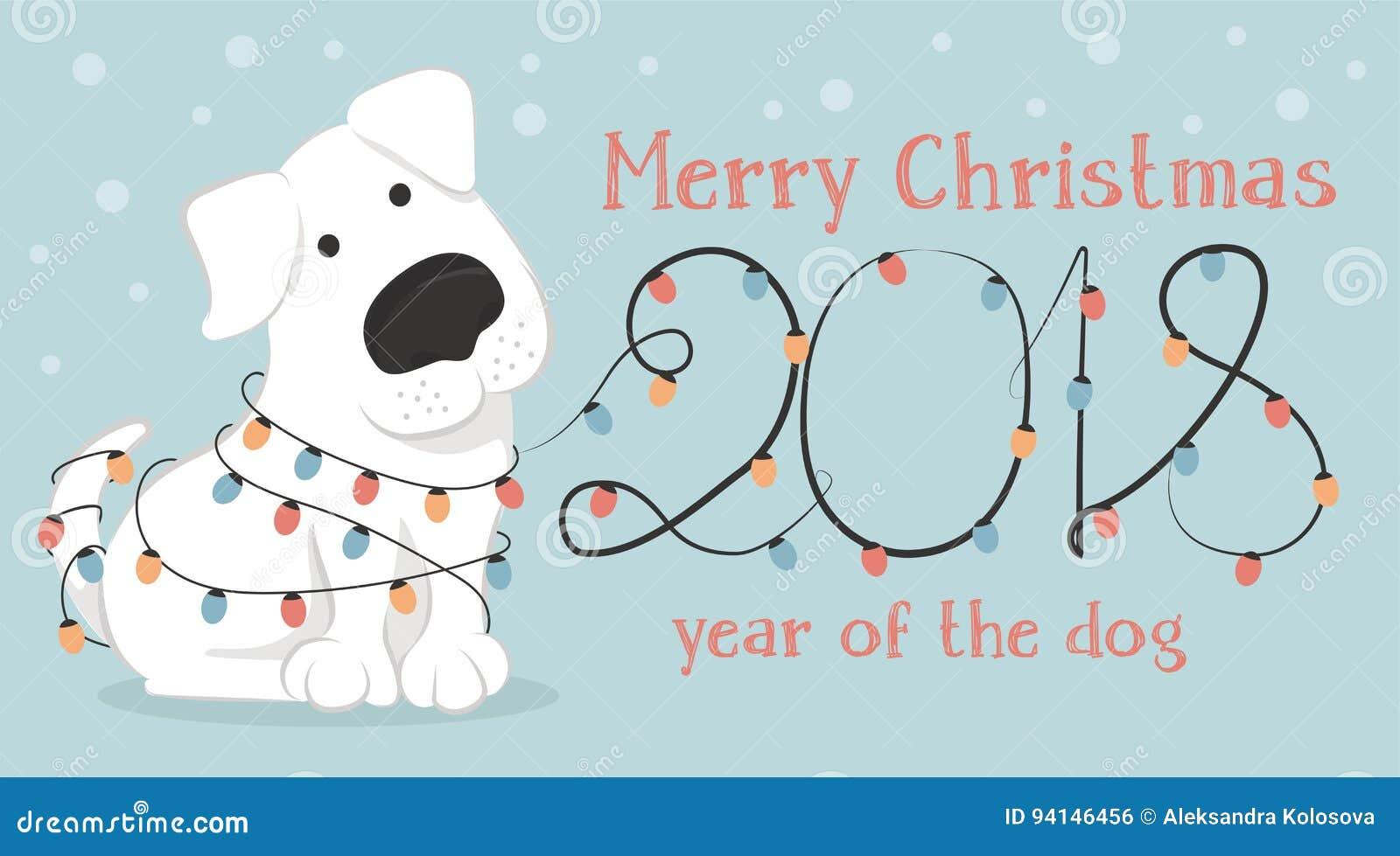 Christmas Card With Cartoon White Dog And Christmas Lights Stock
