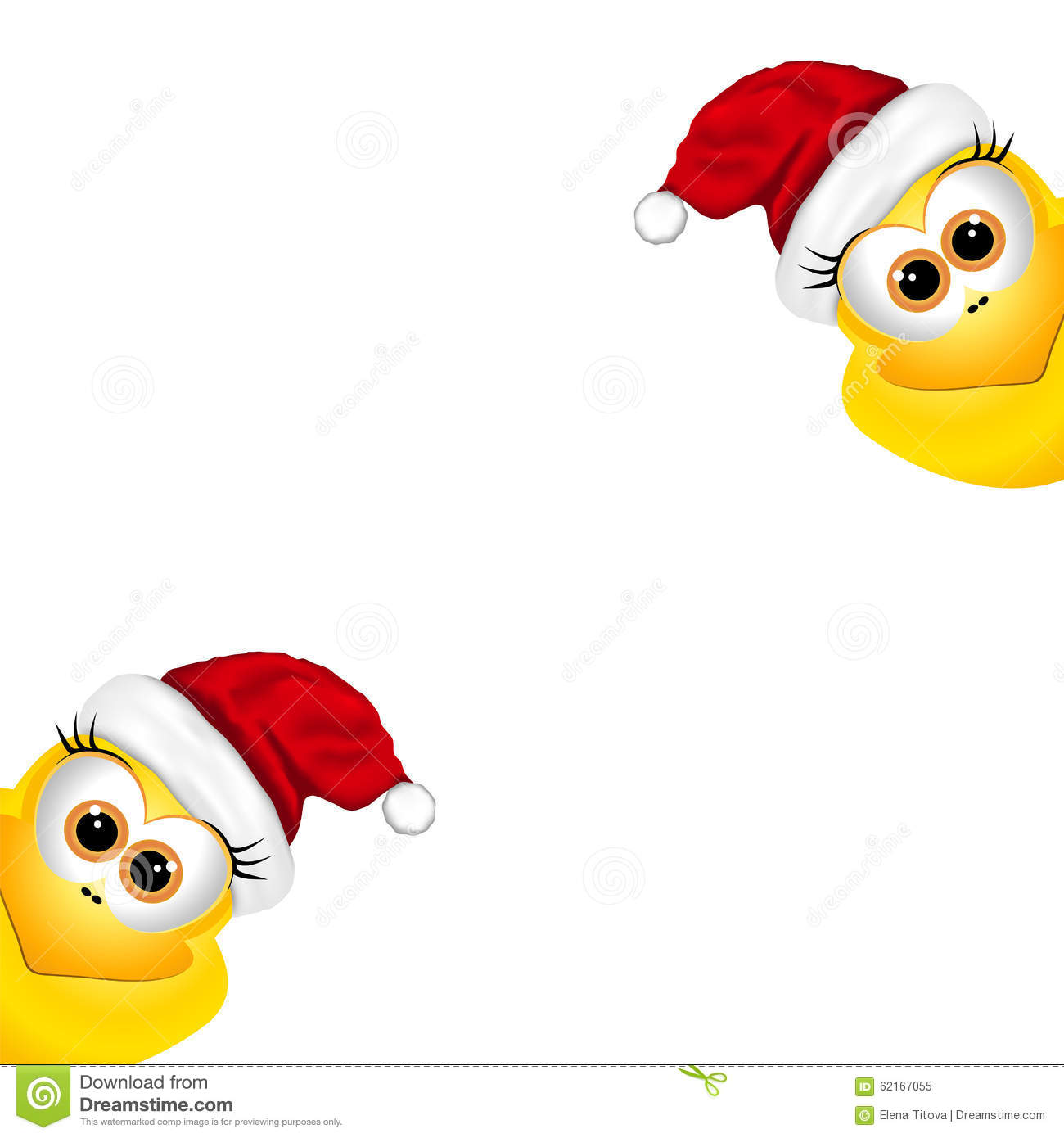 Christmas Card With Chickens In Santa Hat Stock Vector ...