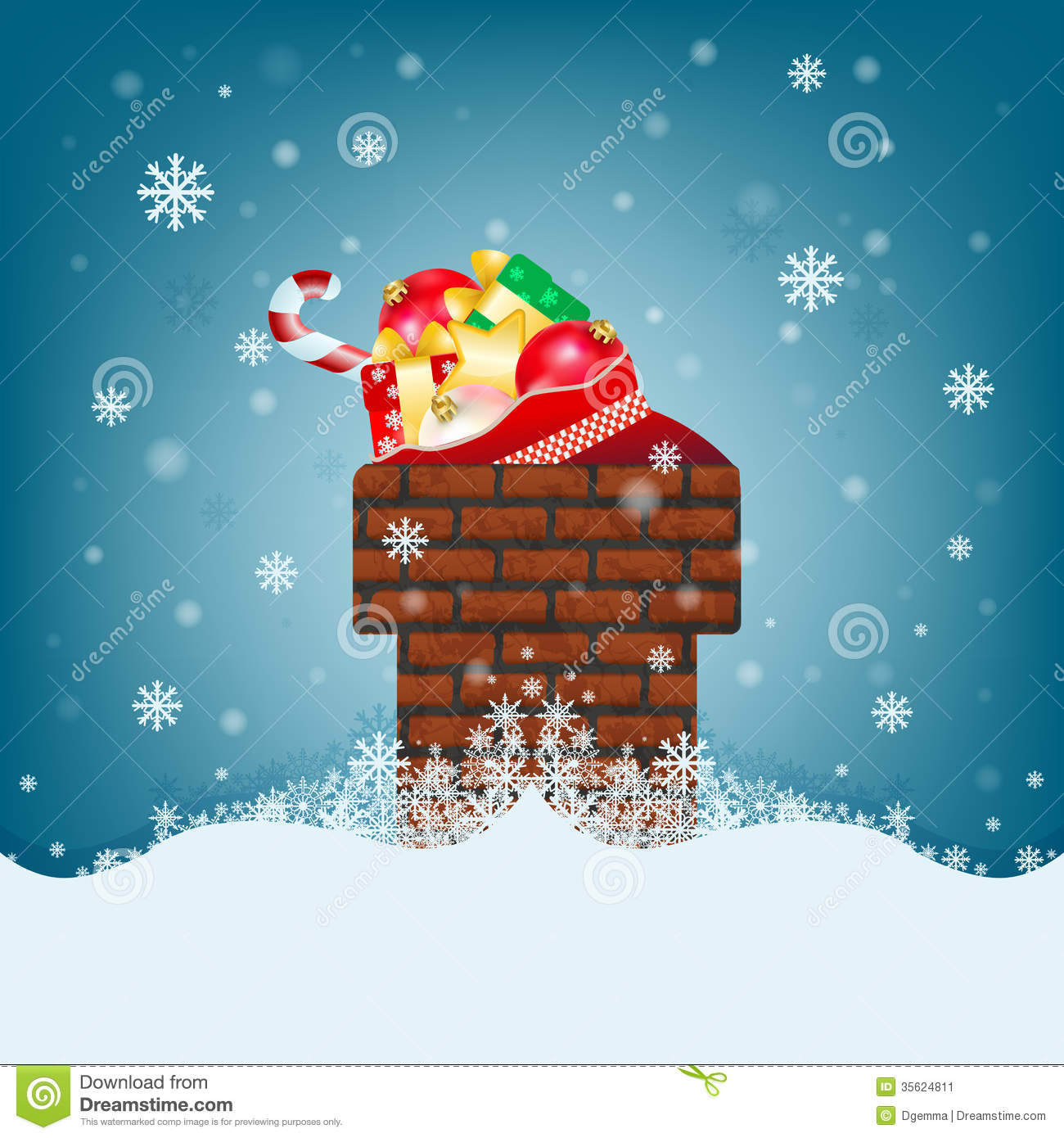 Christmas Card With Chimney And Big Bags Of Gifts Stock