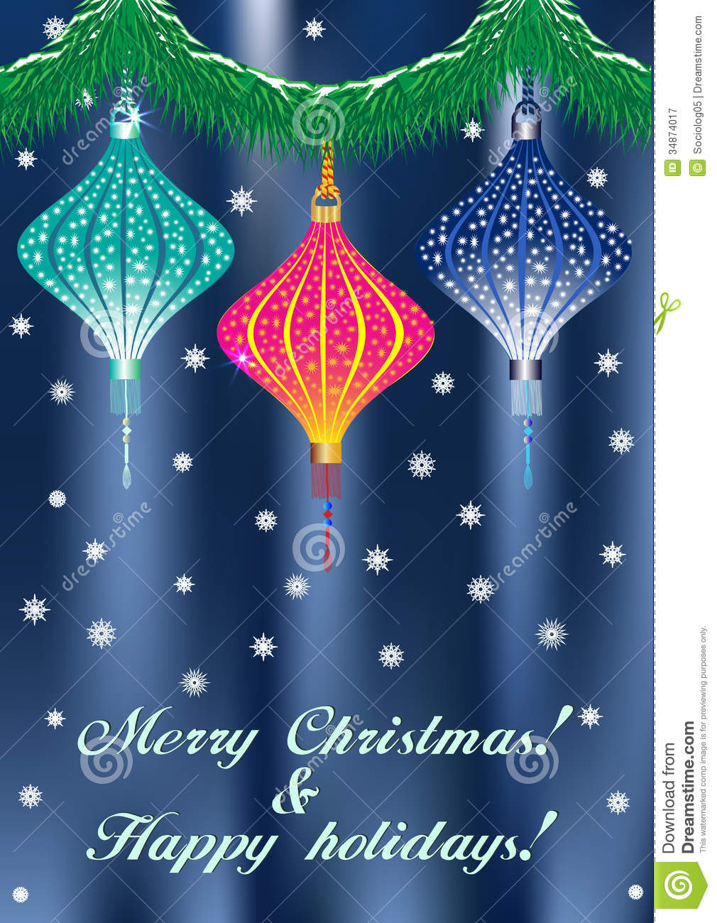 Christmas Card With China Lantern Stock Vector - Illustration of ...