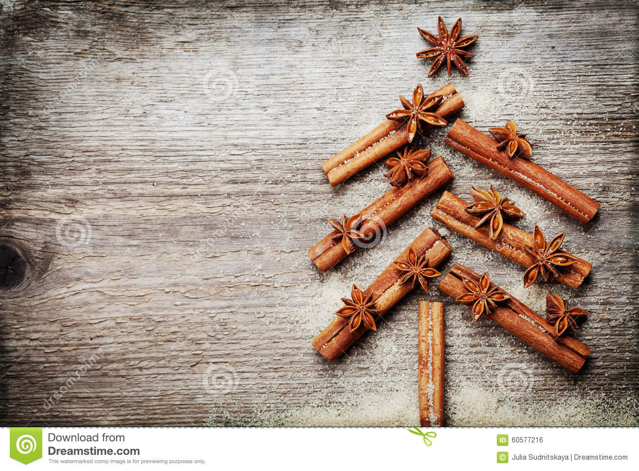 Christmas Card With Christmas Fir Tree Made From Spices Cinnamon ...