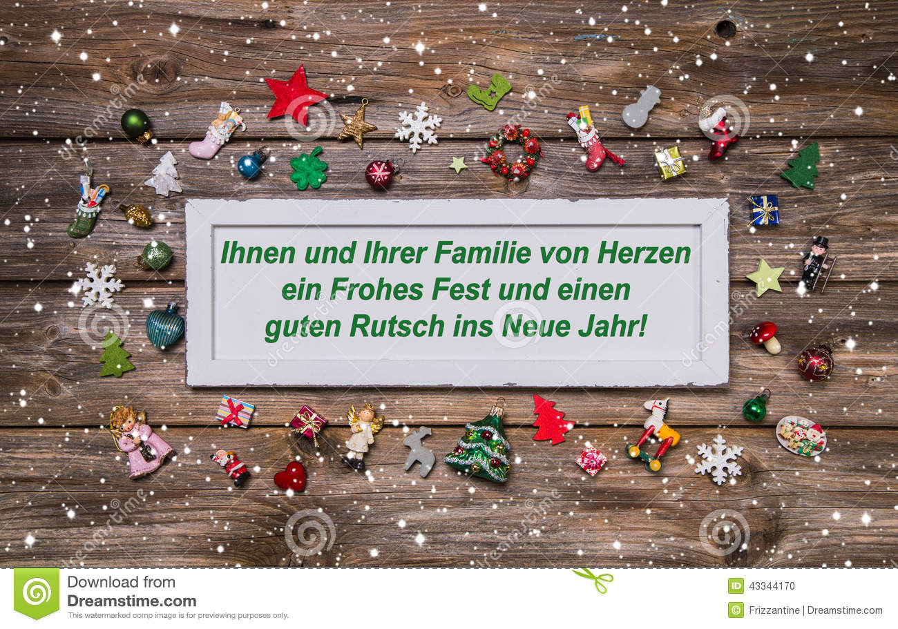 Merry christmas and a happy new year xmas card with german text happy new year christmas card with colorful decoration and german text merry ch stock photo m4hsunfo